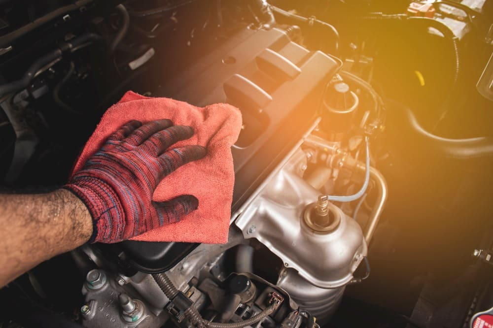 materials needed to clean car engine bay